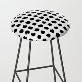 Black and White Minimal Minimalistic Polka Dots Brush Strokes Painting Bar Stool