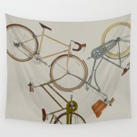 bicycles Wall Tapestries featuring bicycles by Golden Boy