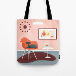 Midcentury Coral Decor With Black Cat And Gold Fish Tote Bag