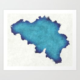 Belgium map with drawn lines and blue watercolor illustration Art Print