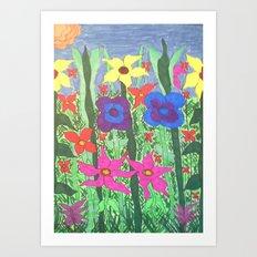 Bohemian Garden Floral Ilustration Art Print