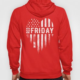 Red Friday Distressed USA Heart Military Hoody
