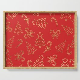 Elegant Christmas Red Faux Gold Foil Candy Cane Tree  Serving Tray