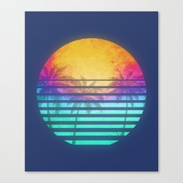 Vintage Retro 80's Synthwave Sunset Palms Canvas Print
