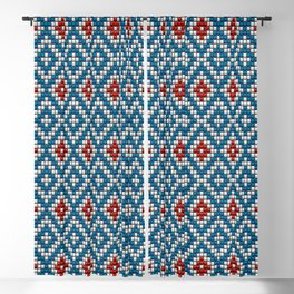 Blue & red ethnic textured motif Blackout Curtain