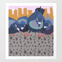 Pigeon Feast Art Print