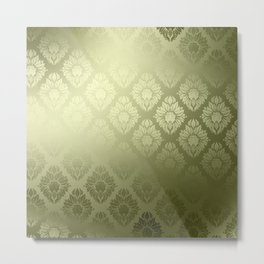 """Olive Damask Pattern"" Metal Print"