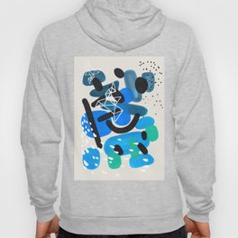 Mid Century Modern Abstract Colorful Art Patterns Teal Blue Turquoise Bubbles Raindrops Geometric Hoody
