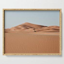 Erg Chebbi Dunes Palmtree, Maroccan Desert Landscape. Merzouga, Marocco.  Serving Tray