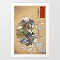 kakashi Art Prints featuring Woodblock Kakashi by Sempaiko