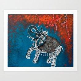 Dancing Elephant in Autumn Art Print