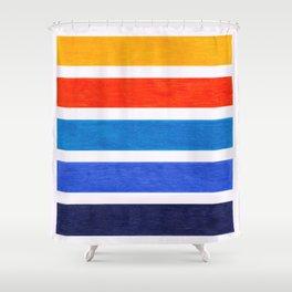Blue & Orange Stripe Pattern Shower Curtain