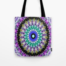 Lovely Healing Mandalas in Brilliant Colors of  violet, purple, green, blue, teal, white, yellow Tote Bag