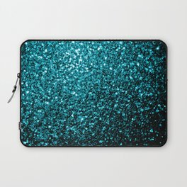 Beautiful Aqua blue glitter sparkles Laptop Sleeve