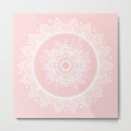 Bohemian Lace Paisley Mandala White on Pink Metal Print