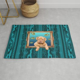 Bordeau Bulldog puppy in frame with tropical fishes Rug