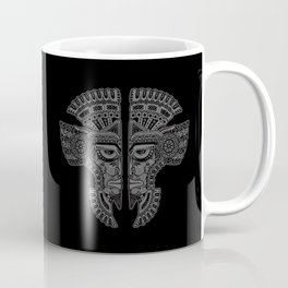 Gray and Black Aztec Twins Mask Illusion Coffee Mug