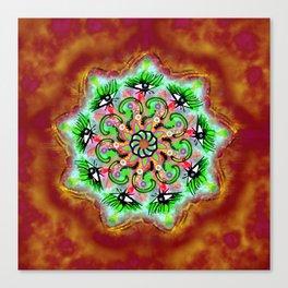 Spider Eye Mandala - Red BG Canvas Print
