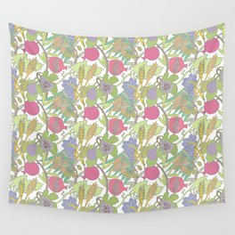 Seven Species Botanical Fruit and Grain with Pastel Colors Wall Tapestry