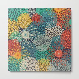 Floral Pattern, Bloom Mix, Colorful Metal Print