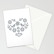 Silver heart shaped floral and birds Stationery Cards
