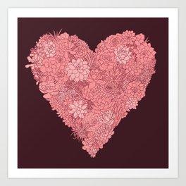 Pink Succulent Heart Art Print