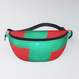Beautiful abstract graphic tied green ribbon and red square box design Fanny Pack