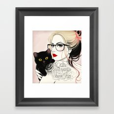 Cats just want to have fun! Framed Art Print