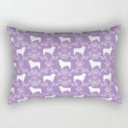 Australian Shepherd purple dog breed pet portrait dog silhouette pattern minimal Rectangular Pillow