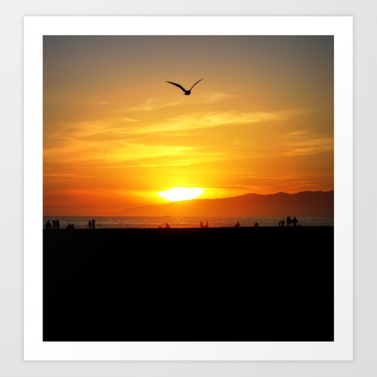 Venice Beach Flying Through the Sunset Art Print