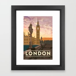 London, England - Vintage Style Travel Poster Framed Art Print