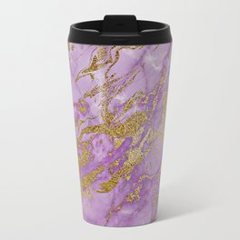 Gold Glitter and Ultra Violet Marble Agate Travel Mug