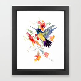 Hummingbird, floral bird art, soft colors Framed Art Print