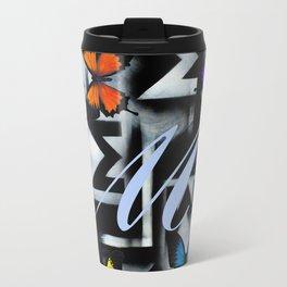 Monarch Butterfly Modern Abstract Painting Rainbow Art Travel Mug