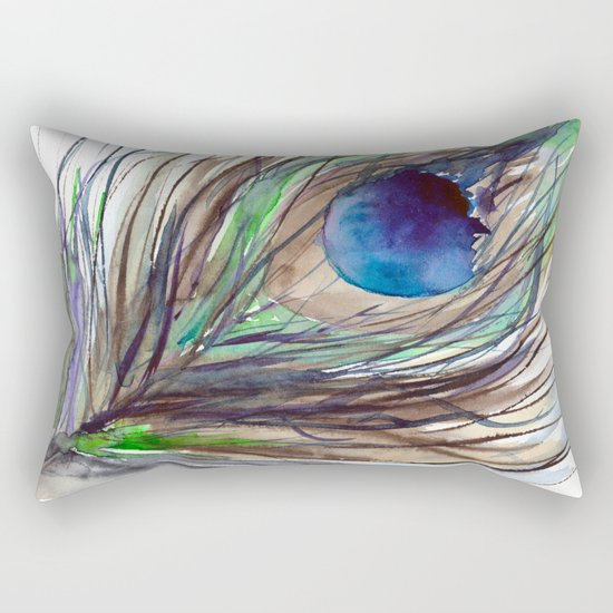 Peacock piece || watercolor Rectangular Pillow