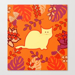 Curious cat, butterflies and leaves Canvas Print