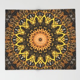 Gold Star Bohemian Mandala Design Throw Blanket