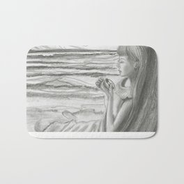 A Cool, Quieting Thought (Girl by tree on the beach) Bath Mat