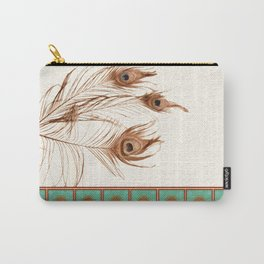 Peacock Feathers and Graphic Stripes and Tile Carry-All Pouch