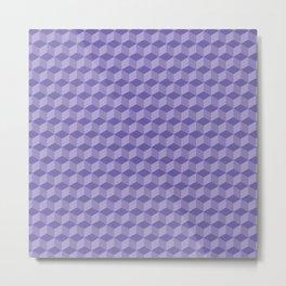 3D Optical Illusion: Purple Cube Pattern Metal Print