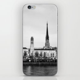Rouen over the River Seine - Black and White Version iPhone Skin