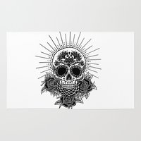 sugar skull Area & Throw Rugs featuring Sugar Skull by Nora Bisi