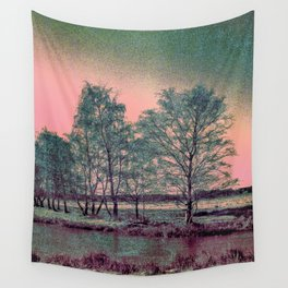 Abstract Winter Sun and Birch Trees  Wall Tapestry