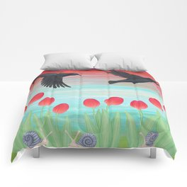 crows, tulips, & snails Comforters