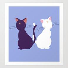 Luna & Artemis (Minimalist) - Blue Art Print