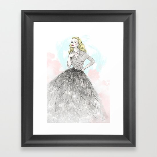 Ostrich Fashion Illustration Framed Art Print