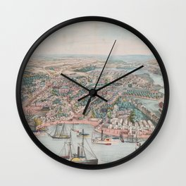 Vintage Pictorial Map of Annapolis MD (1864) Wall Clock
