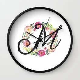 Floral M Monogram Wall Clock