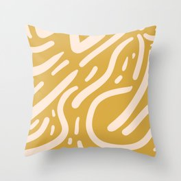 Earthy Mustard Yellow and Light Peach tribal inspired modern pattern Throw Pillow