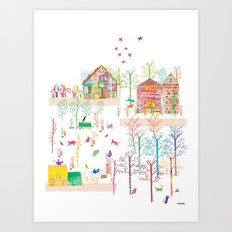 cats in the sunshine. Art Print